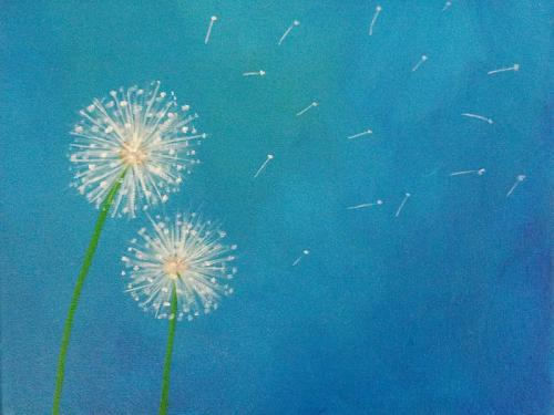 Dandelion Amp Peacock Feather Paintings